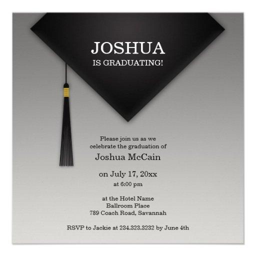 Graduation Black Hat Elegant Flat Invitation