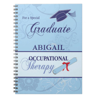 Graduation Blue Swirls, Vertical Gift Spiral Note Book