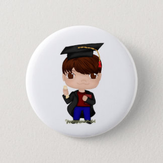 Graduation Boy Brown (B) 6 Cm Round Badge