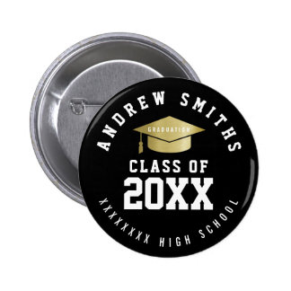 graduation button with graduate name & class year