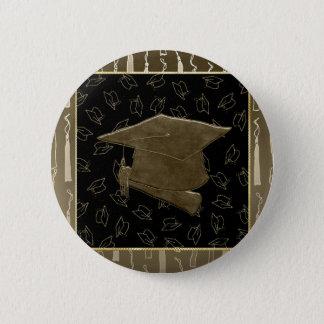 Graduation Cap and Diploma Mouse Pad, Brown, Black 6 Cm Round Badge