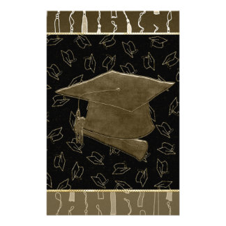 Graduation Cap and Diploma Mouse Pad, Brown, Black Stationery