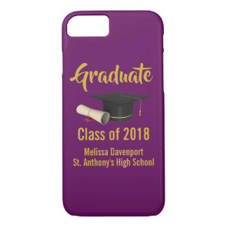 Graduation Cap and Diploma on Purple Class of 20XX iPhone 8/7 Case