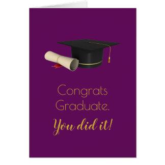 Graduation Cap and Diploma on Purple Grad Congrats Card