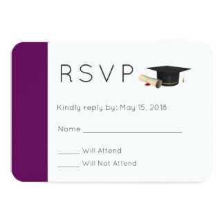 Graduation Cap and Diploma on Purple  RSVP Card