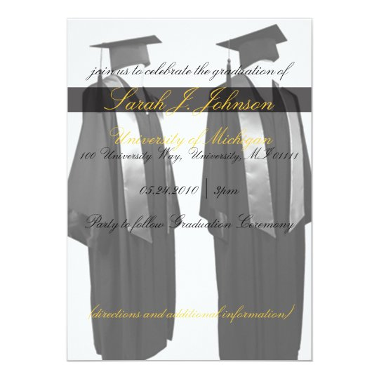 Graduation Cap and Gown Party Invitations