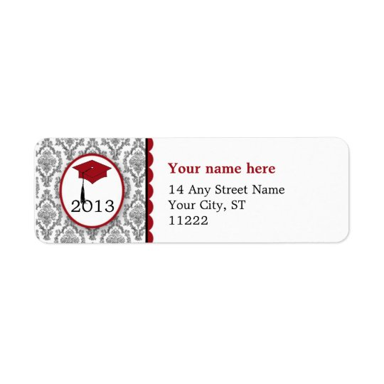 Graduation Cap Black Damask burgundy CUSTOMIZABLE Return Address Label