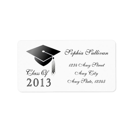 Graduation Cap Class of 2014 Name and Address Label