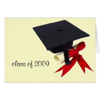 Graduation cap color, class of 2009 card