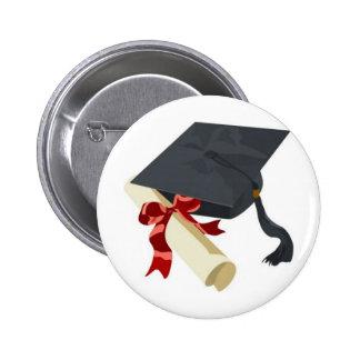 Graduation Cap & Diploma 6 Cm Round Badge