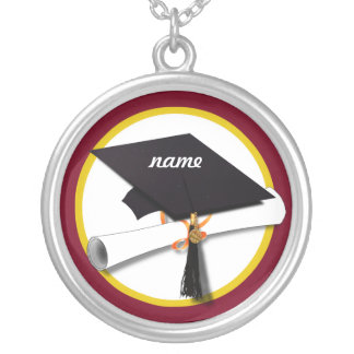 Graduation Cap & Diploma - Dark Red Background Necklaces