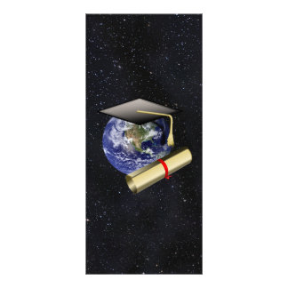 Graduation Cap, Earth w/diploma - Star Background Rack Card