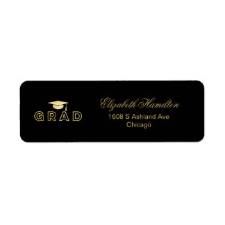 Graduation Cap Faux Foil Gold Elegant Grad Return Address Label