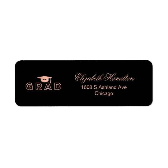 Graduation Cap Faux Foil Rose Gold Elegant Grad Return Address Label