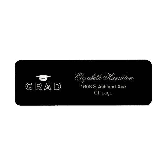 Graduation Cap Faux Foil Silver Elegant Grad Return Address Label