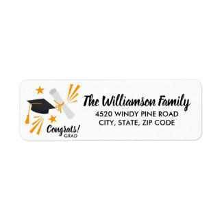 Graduation Cap Mortar Board Diploma Custom Address Return Address Label