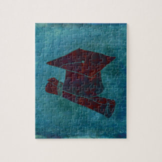 Graduation Cap on Vintage Paper with Writing, Aqua Jigsaw Puzzle