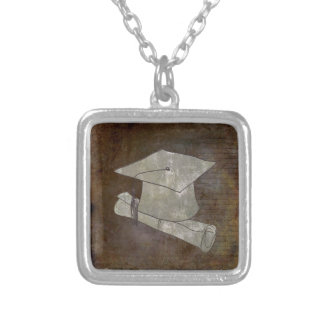 Graduation Cap on Vintage Paper with Writing Silver Plated Necklace