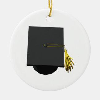 Graduation Cap Round Ceramic Decoration