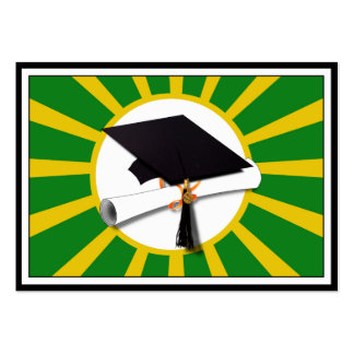 Graduation Cap - School Colors Gold and Green Pack Of Chubby Business Cards