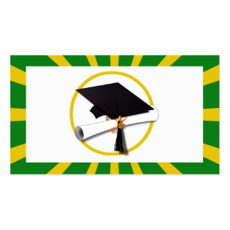 Graduation Cap - School Colors Gold and Green Pack Of Standard Business Cards