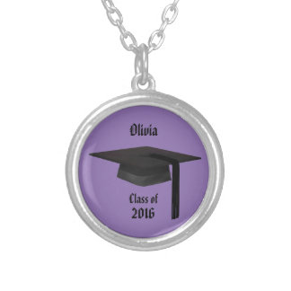 Graduation Cap Small Silver Plated Necklace