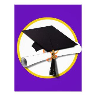 Graduation Cap w/Diploma - Purple Background 21.5 Cm X 28 Cm Flyer