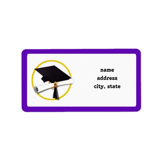 Graduation Cap w/Diploma - Purple Background Address Label
