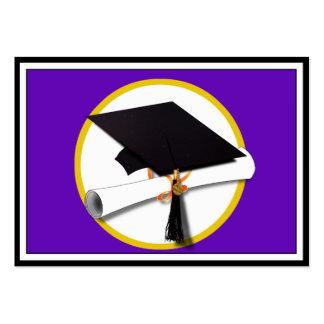 Graduation Cap w Diploma - Purple Background Business Card Template