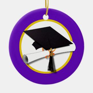 Graduation Cap w/Diploma - Purple Background Ornament