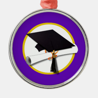 Graduation Cap w/Diploma - Purple Background Christmas Ornaments