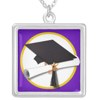 Graduation Cap w/Diploma - Purple Background Custom Necklace