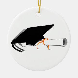 Graduation Cap With Diploma Round Ceramic Ornament