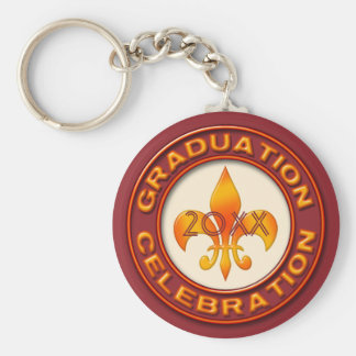 Graduation Celebration Basic Round Button Key Ring