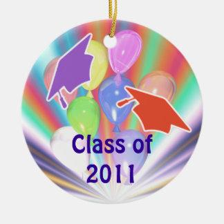 Graduation Celebration Caps and Balloons Round Ceramic Decoration