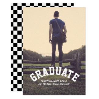 Graduation Check Black White Modern Personalised Card