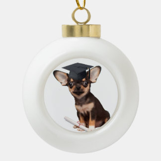 Graduation Chihuahua dog Ceramic Ball Decoration