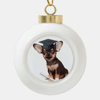 Graduation Chihuahua dog Ceramic Ball Decoration