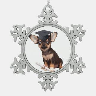 Graduation Chihuahua dog Pewter Snowflake Decoration