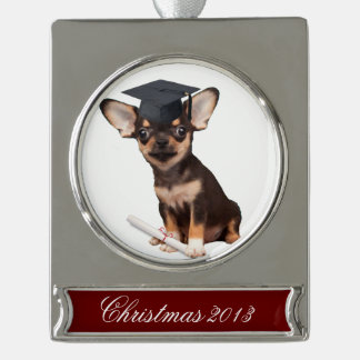 Graduation Chihuahua dog Silver Plated Banner Ornament