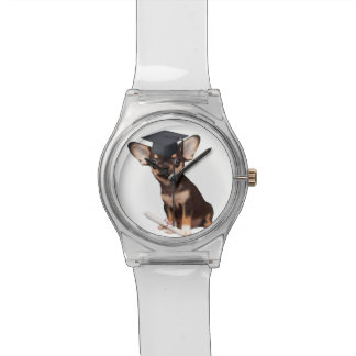 Graduation Chihuahua dog Wristwatches