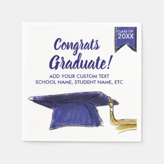 Graduation Class 2018 Congrats Blue Grad Cap Disposable Serviette