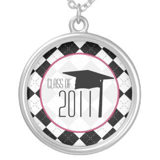 Graduation Class Of 2011 Black Argyle & Pink Necklaces