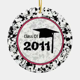 Graduation Class of 2011 Black Paint Splatter Ceramic Ornament