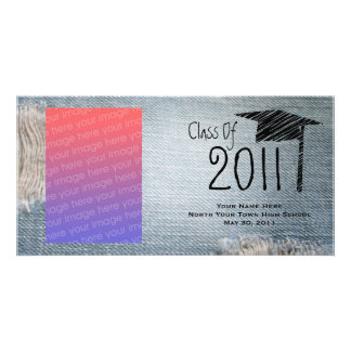 Graduation Class Of 2011 Faded Blue Jeans Personalized Photo Card