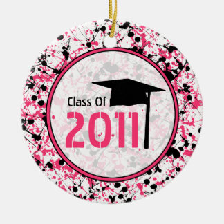 Graduation Class of 2011 Pink & Black Splatter Round Ceramic Decoration