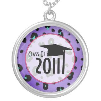 Graduation Class Of 2011 Purple Leopard Print Custom Necklace