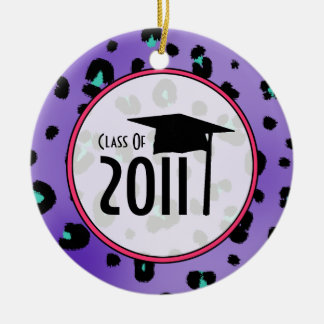Graduation Class of 2011 Purple Leopard Print Round Ceramic Decoration