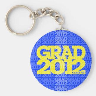 Graduation Class Of 2012 Keychain Yellow Blue