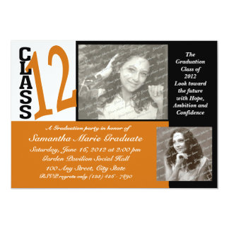 Graduation Class of 2012 Orange 13 Cm X 18 Cm Invitation Card